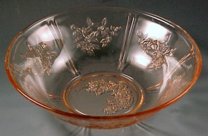 Sharon Cabbage Rose Pink Depression Glass Serving Bowl