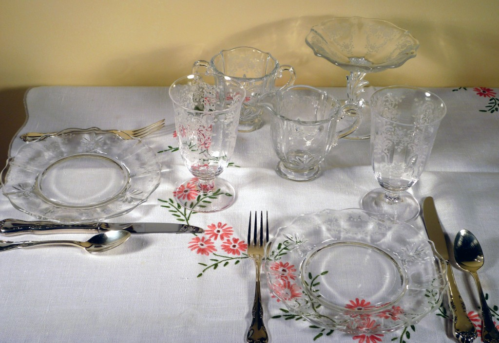 Fostoria Meadow Rose Etched Crystal Lunch Setting