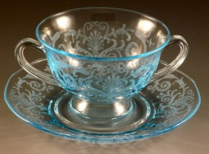 Fostoria Glass Versailles Etched Blue Bouillon Bowl & Saucer