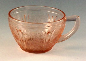 Cherry Blossom Pink Depression Glass Cup