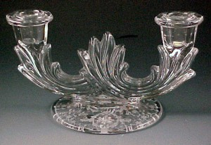 Fostoria Glass Navarre Etched Crystal Double Candle Holder