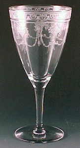 Cambridge Glass Etch 701 Crystal Water Goblet