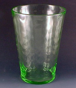 Loop Optic Green Depression Glass Vase