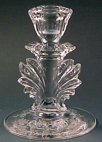 Fostoria Glass Meadow Rose Etched Baroque Crystal Tall Candle Holder