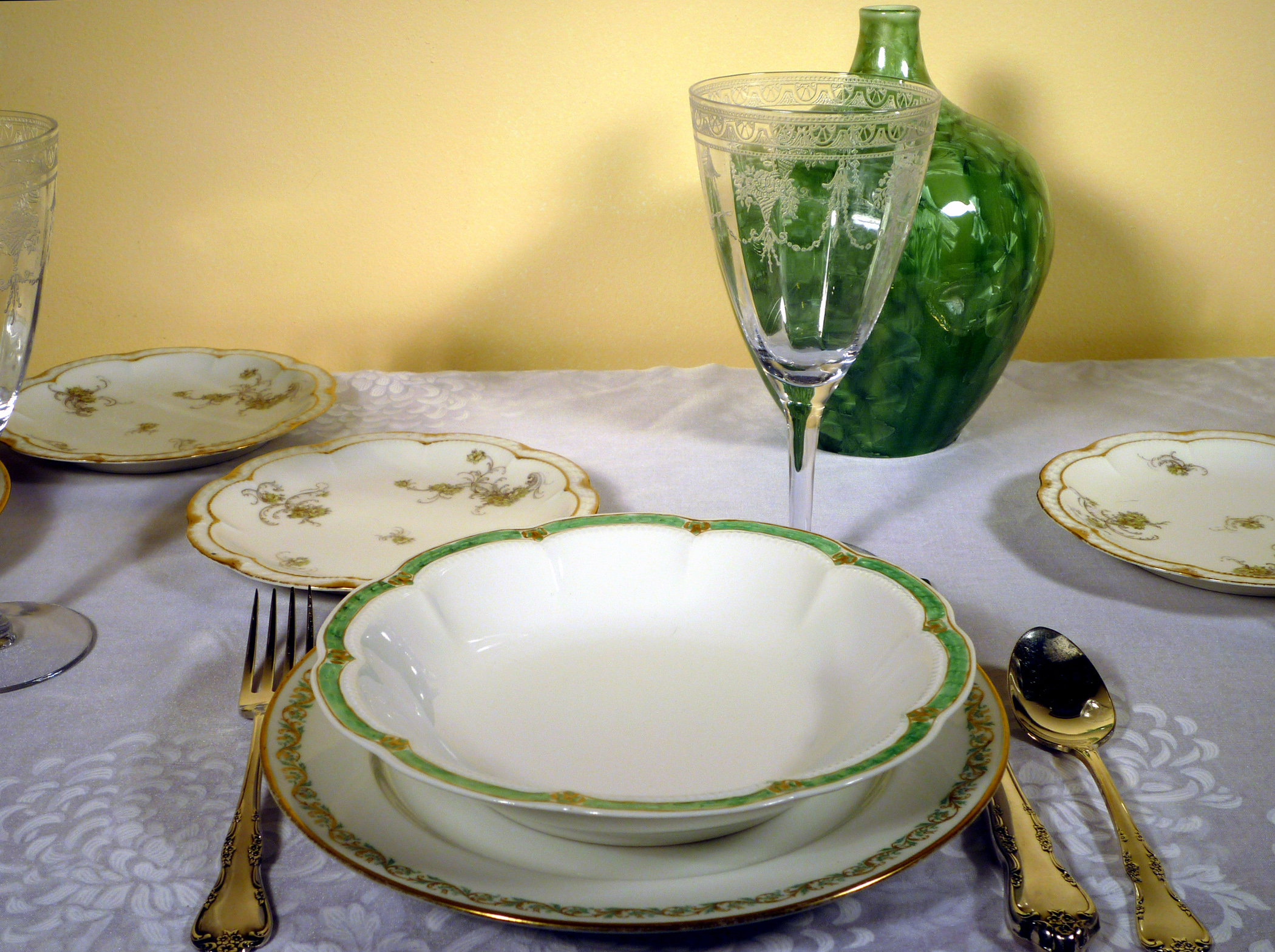 Haviland Limoges China Green on White