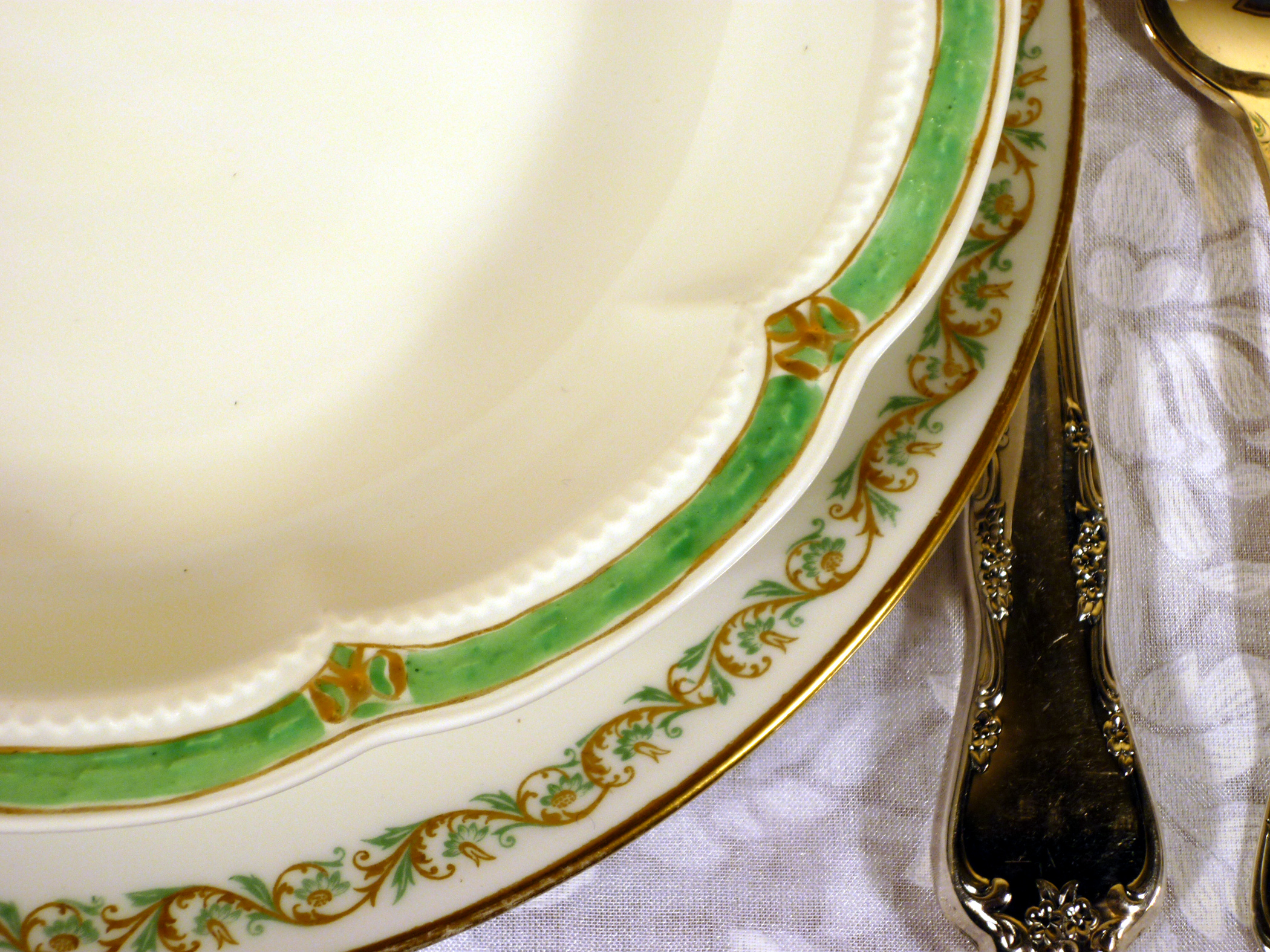 Haviland Limoges China Green Borders Detail