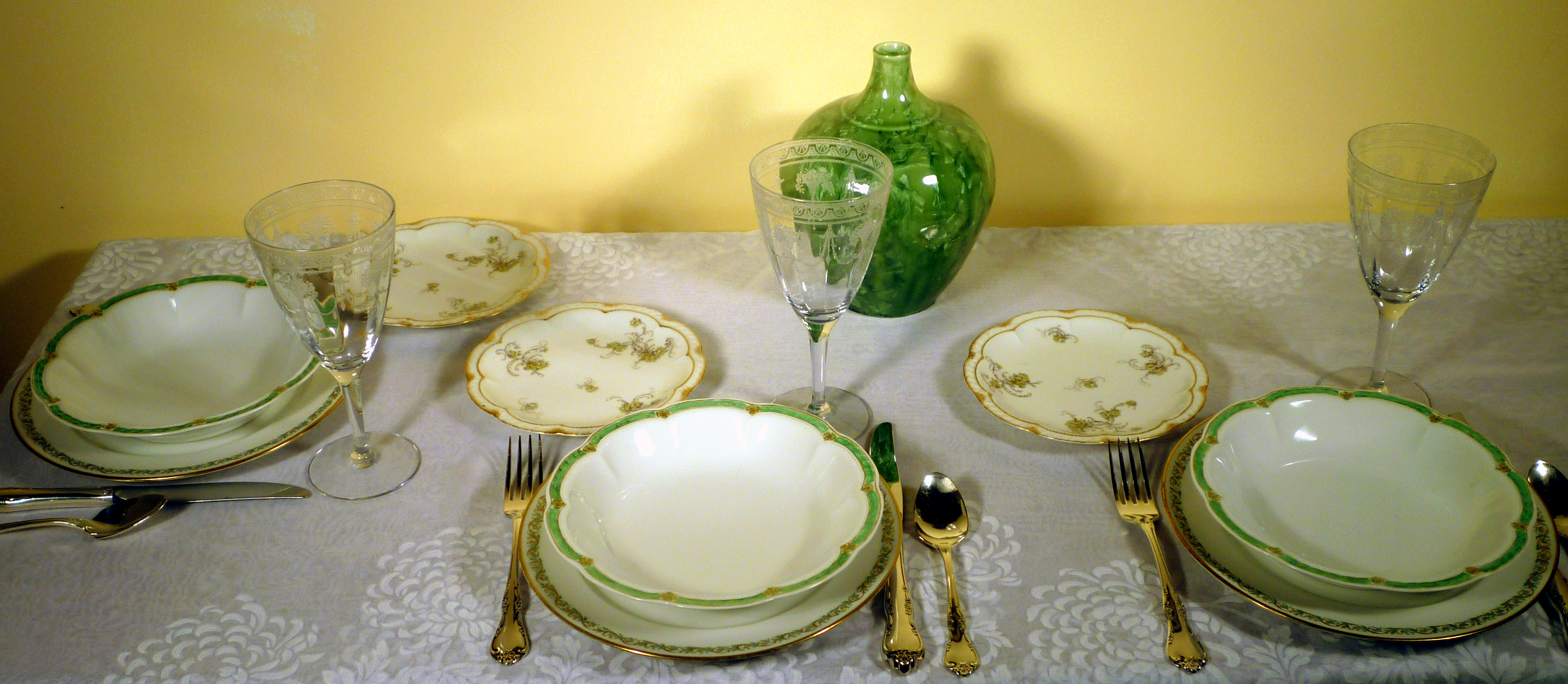 Haviland Limoges Fine French China with Green Designs