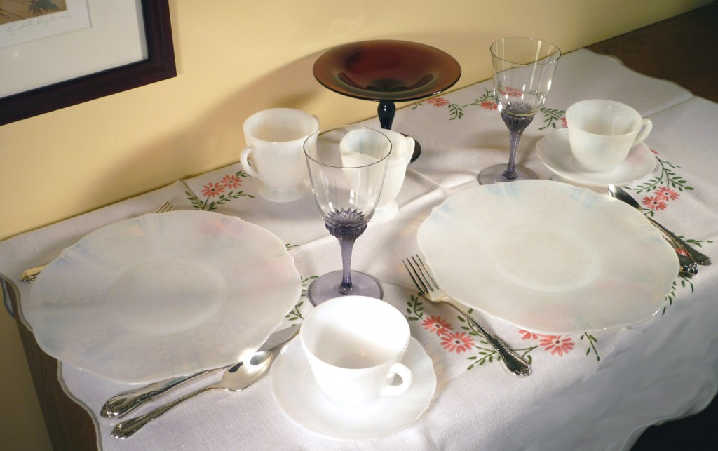 American Sweetheart Monax White Depression Glass Tablescape