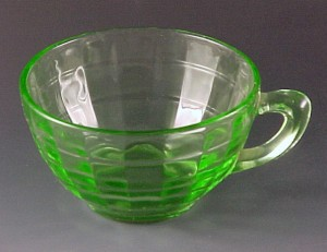 Block Optic Green Depression Glass Plain Handle Cup