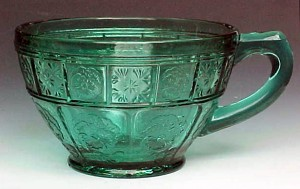 Doric & Pansy Ultramarine Teal Depression Glass Cup