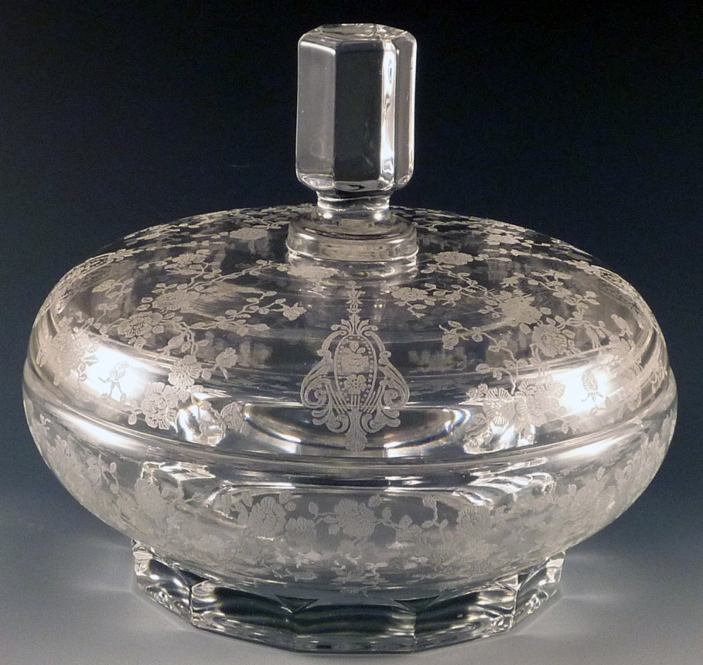 Rose Point Etched Crystal Candy Bowl