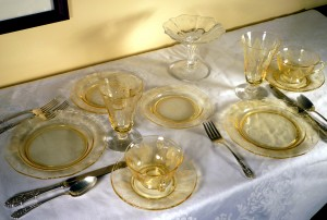 Tablescape Thursday – Patrician Amber and Trojan Topaz