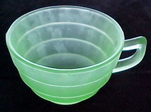 Block Optic Green Satin Depression Glass Cup