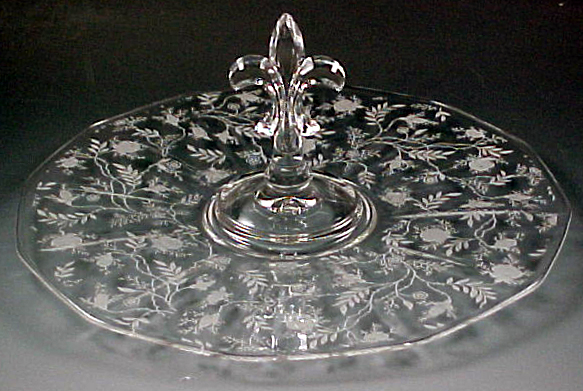 Fostoria Glass Chintz Etched Crystal Center Handled Server
