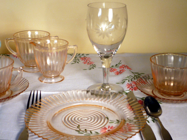 Petalware Pink Depression Glass and Vintage Goblets