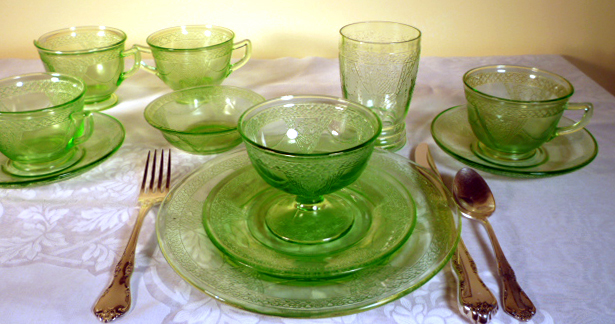 Georgian Lovebirds Green Depression Glass