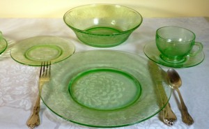 Florentine Poppy Green Depression Glass
