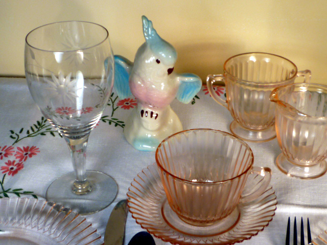 Petalware Pink Depression Glass & Retro Bird Tablescape