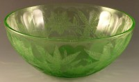 Floral Poinsettia Green Depression Glass Bowl