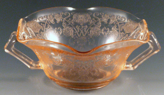 Florentine #1Poppy Pink Depression Glass Cream Soup