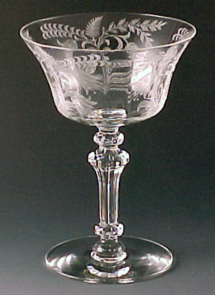 Tiffin Glass Fucshia Etched Crystal Cocktail Stem