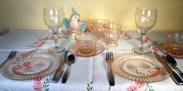 Petalware Pink Depression Glass & Cut Goblets