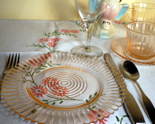 Petalware Pink Depression Glass Lunch Plate