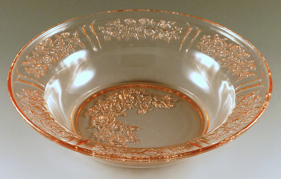 Sharon Cabbage Rose Pink Depression Glass Rimmed Soup Bowl