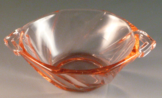 Heisey Glass Twist Flamingo Pink Nut Cup