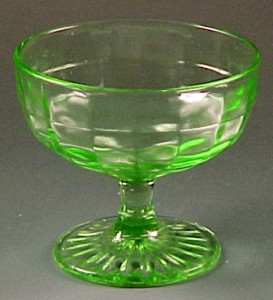 Collecting Fun – Block Optic Green, Yellow and Pink Depression Glass from Hocking