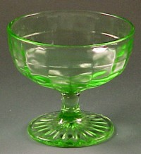 Block Optic Green Depression Glass Sherbet