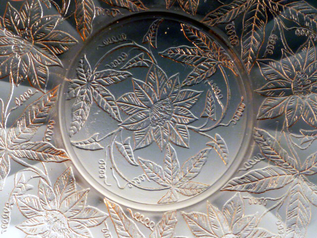 Floral Poinsettia Pink Depression Glass Pattern Detail