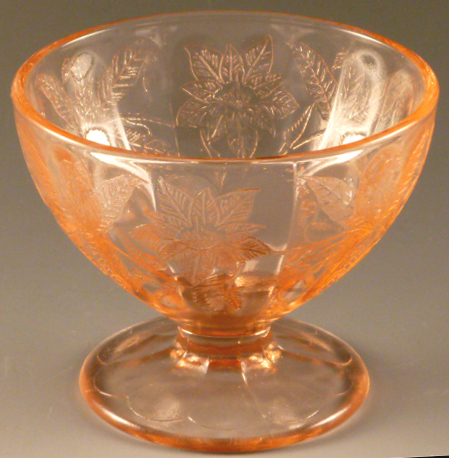 Floral Poinsettia Pink Depression Glass