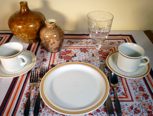 Royal Doulton Cinnamon Dinnerware and Tiffin Dolores Stemware