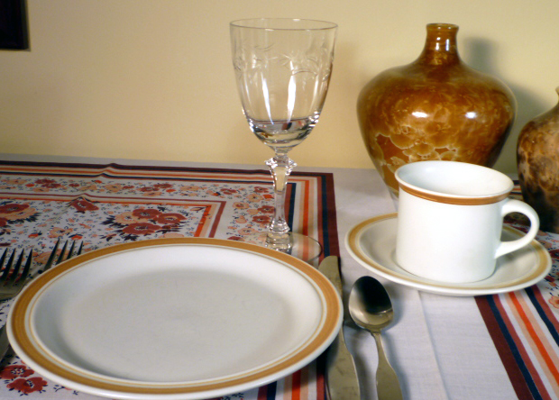 Royal Doulton Cinnamon Casual Dinnerware and Tiffin Dolores Cut Stemware