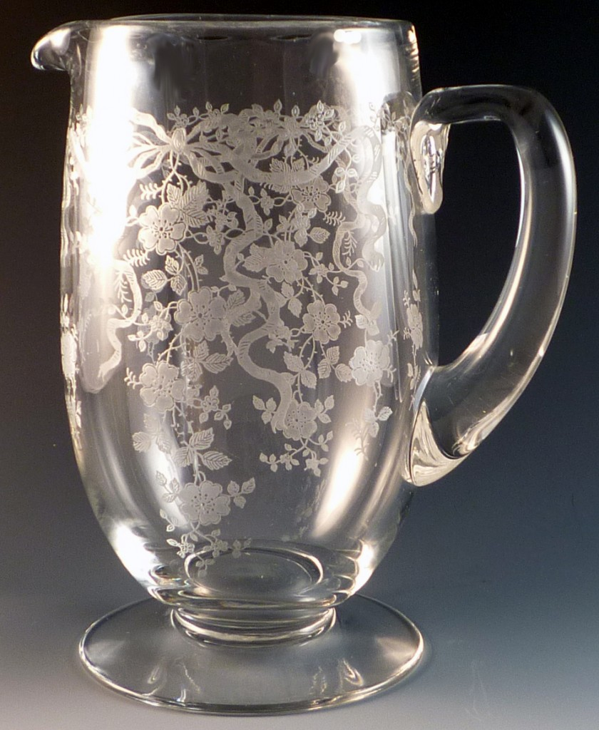 Fostoria Glass Romance Etched Crystal Pitcher