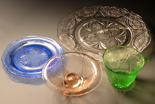 Royal Lace Blue Green Pink and Clear Depression Glass
