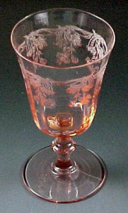 Central Glass Scotts Morning Glory Pink Water Goblet