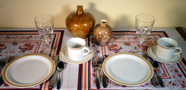 Royal Doulton Cinnamon Casual Dinnerware and Tiffin Dolores Cut Crystal
