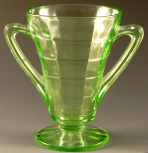 Block Optic Green Depression Glass Sugar