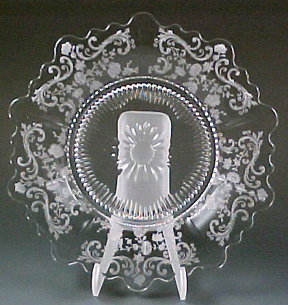 Cambridge Glass Chantilly Etched Martha Plate