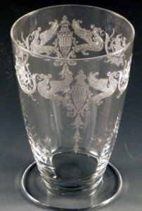 Tiffin Glass Eldorado Griffin Etched Crystal Footed Tumbler