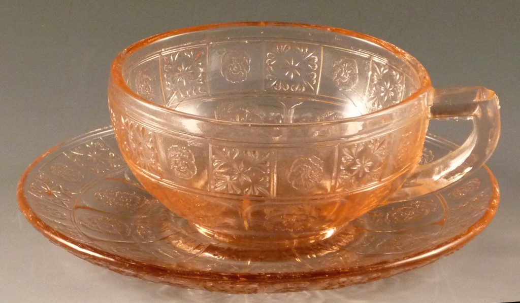 Pretty Polly Pink Depression Glass Cup and Saucer