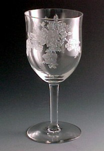 Monongah Glass Secretaries Primrose Etched Crystal Goblet