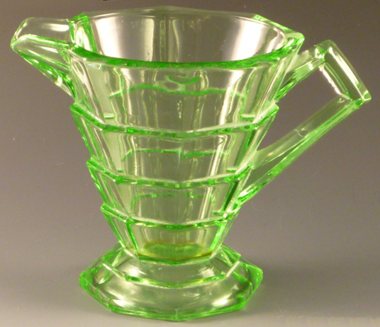 Tea Room Green Depression Glass Creamer