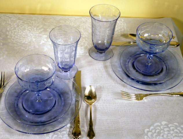 Tiffin Glass Fontaine Fountain Etched Twilite Blue Purple Tablescape