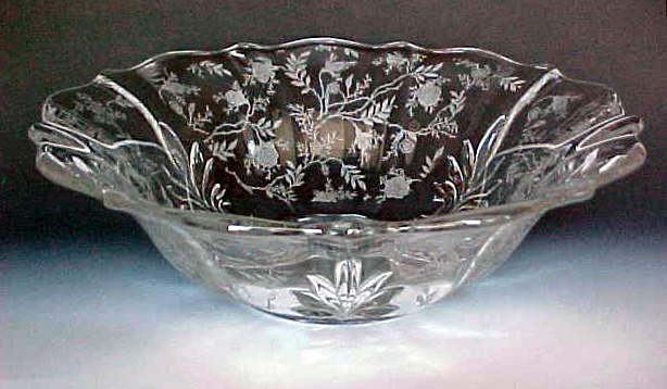 Fostoria Glass Chintz Etched Bowl