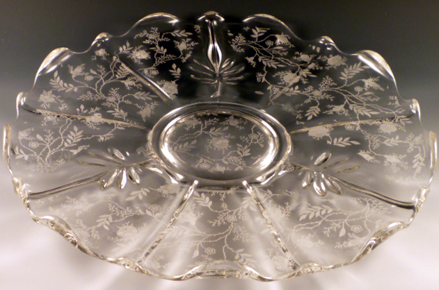 Fostoria Glass Chintz Etched 14 inch Cabaret Plate