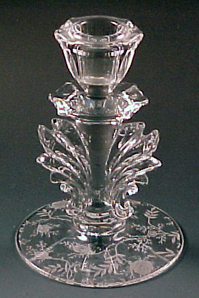 Fostoria Chintz Etched Crystal Baroque Tall Candle Holder