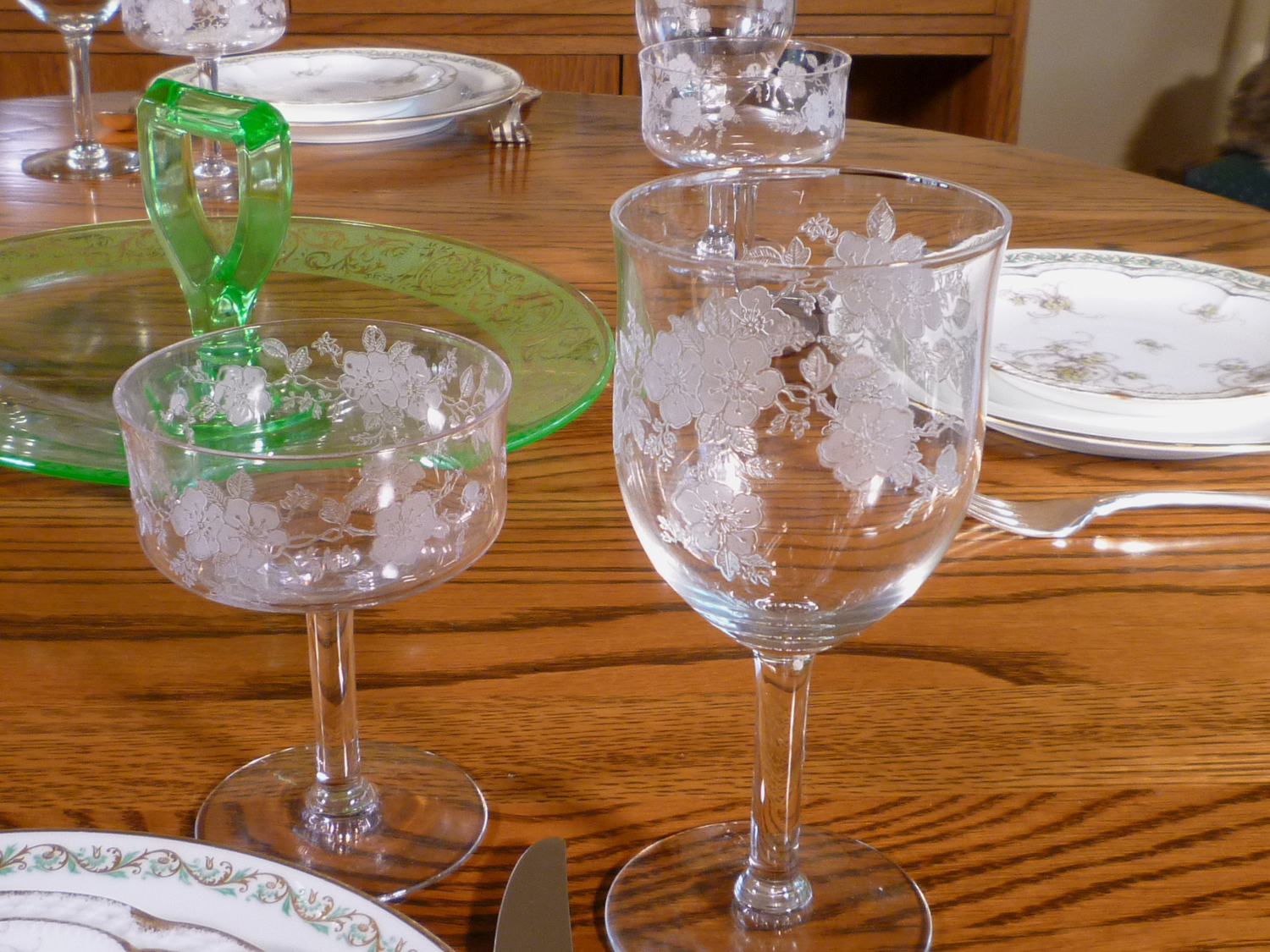 Haviland Limoges Dinnerware and Monongah Secretaries Primrose Stemware
